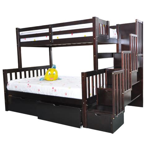 Twin Full Stairway Bunk Bed Flamingo Espresso Stairs Beds Stairway Bunk Bed