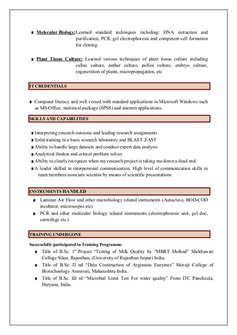 microbiology lab techniques resume