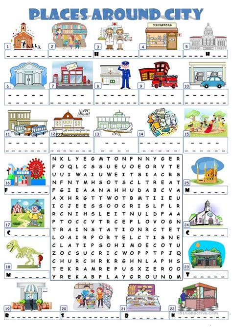 Search For On By City City Places Wordsearch Worksheet Free Esl Printable