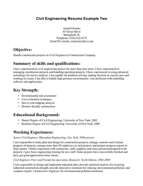 sample of resume for civil engineer kantosanpo com