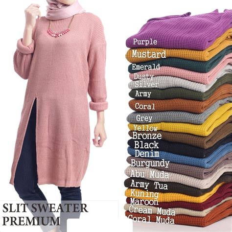 Dress Wanita Slit Rajut Dusty slit sweater sweater premium sweater muslim sweater