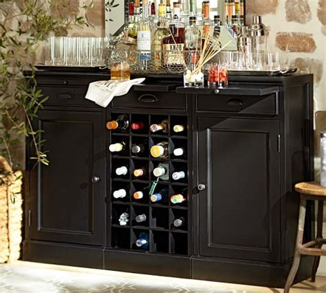 modular bar buffet with 2 cabinet bases 1 wine grid base