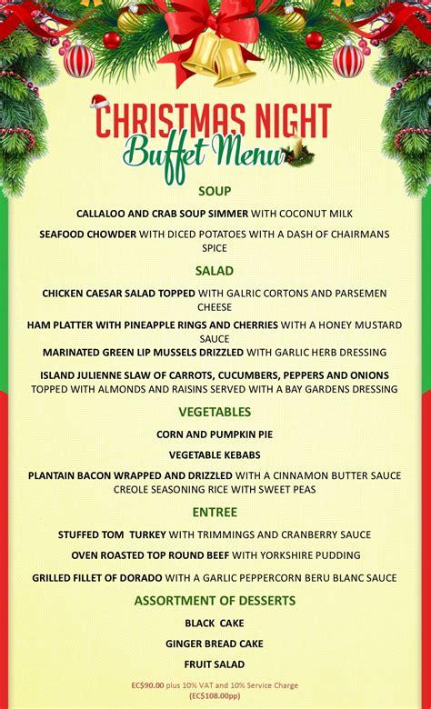 christmas eve menus buffet bay gardens resorts