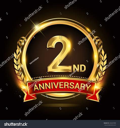 2nd golden anniversary logo shiny ring stock vector