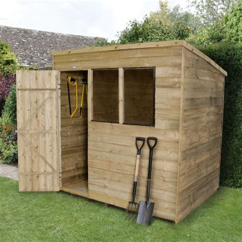 forest overlap pent garden shed pressure treated
