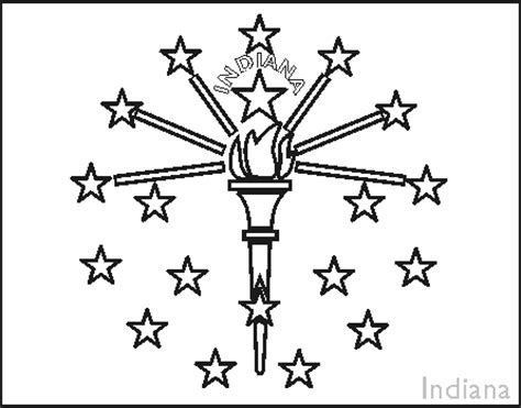 coloring page indiana state flag colouring book of flags united states of america