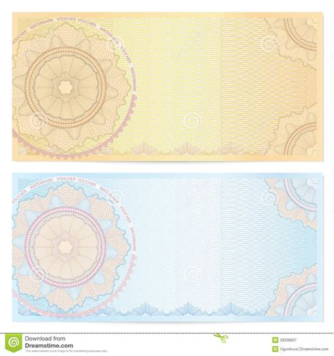 bank note template voucher coupon template with guilloche pattern stock vector illustration of background