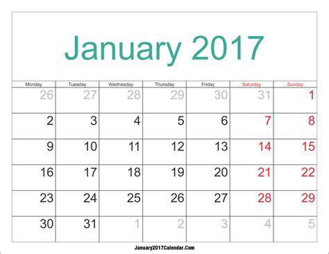 2017 Monthly Calendar Template 2017 Calendar Printables 2017 Quarterly Calendar Template