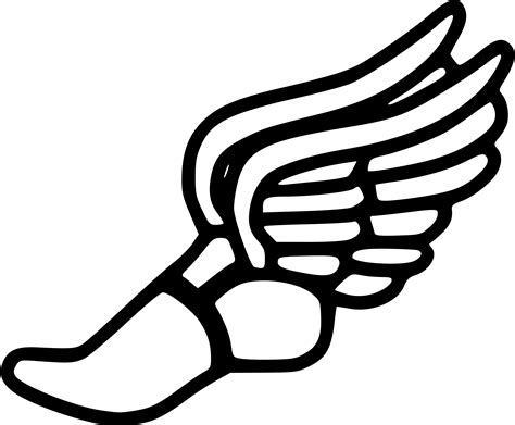 running shoe track shoes with wings clipart coloring and