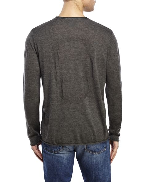 scull sweater lyst zadig voltaire teiss wool skull sweater in gray