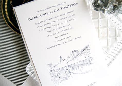 wedding invitations cleveland ohio cleveland skyline wedding invitations