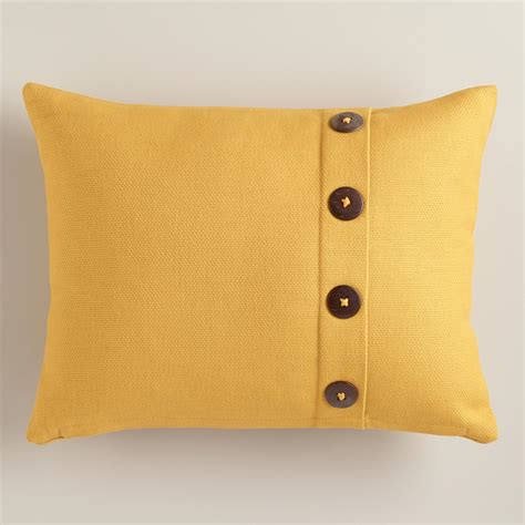 Pillows With Buttons by Mustard Yellow Basketweave Lumbar Pillow With Button