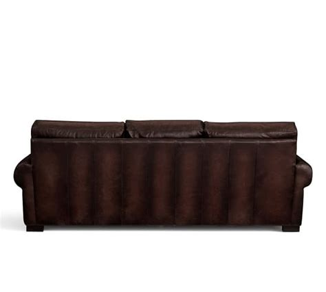 scroll arm leather sofa turner roll arm leather sleeper sofa pottery barn