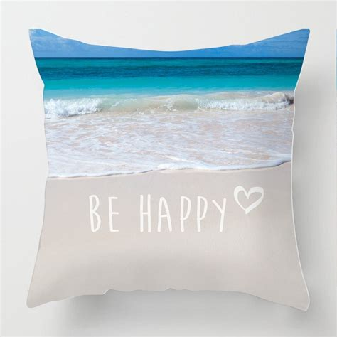 happy inspirational quote seascape photo cushion