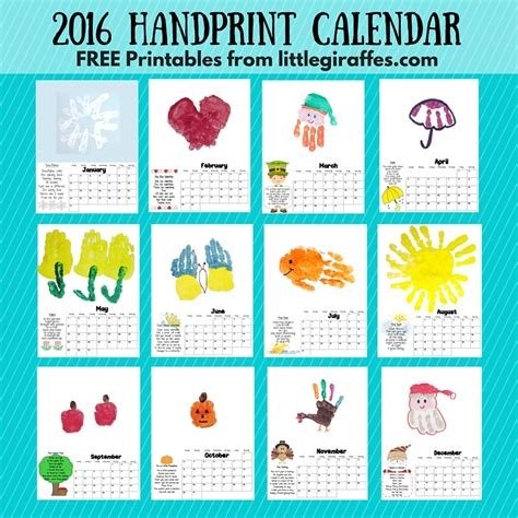 printable calendar ideas little giraffes keepsake handprint calendar a to z
