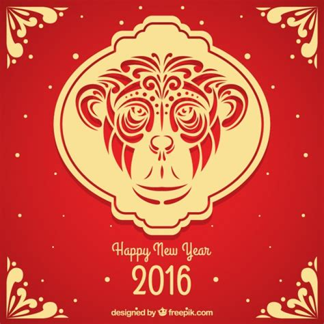 new year monkey free ornamental monkey new year background vector