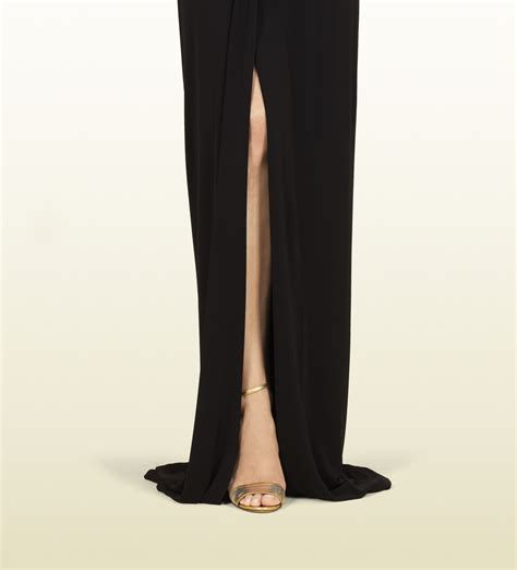 Longdress Gucci With Label lyst gucci black dress with horsebit belt in black