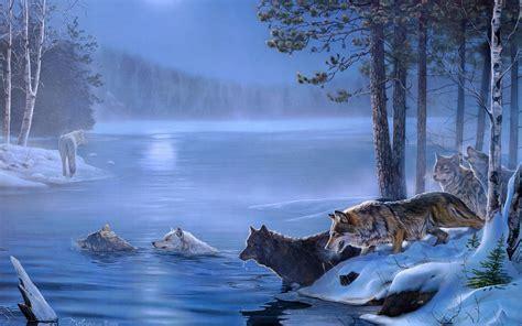 imagenes de paisajes con animales art paintings wolf wolves landscapes trees forest lakes
