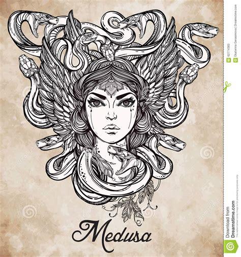 mythological medusa portriat illustration stock vector