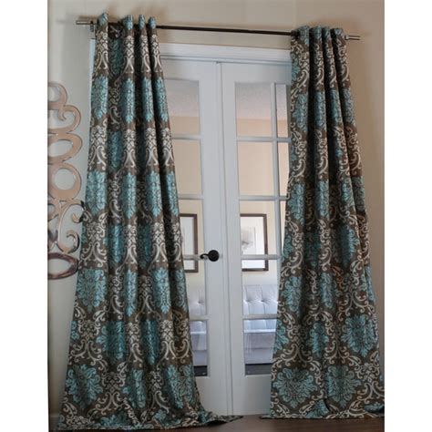 Brown And Teal Curtains Lambrequin Milan Damask Medallion Smoky Teal Curtain Panel Free Shipping Today Overstock