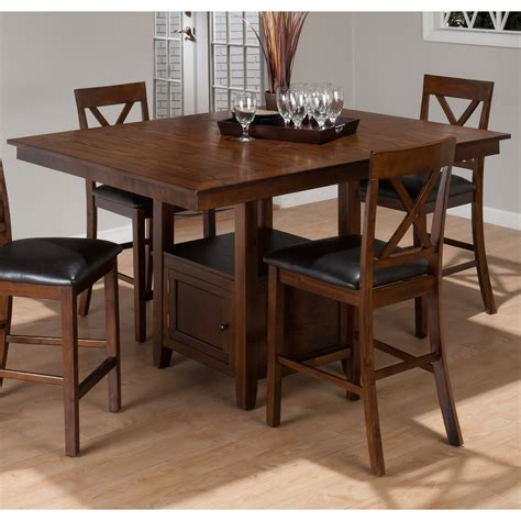 jofran oak counter height dining table with storage