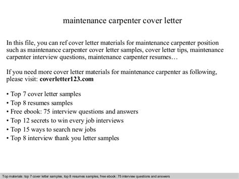 Maintenance Carpenter Cover Letter by Maintenance Carpenter Cover Letter