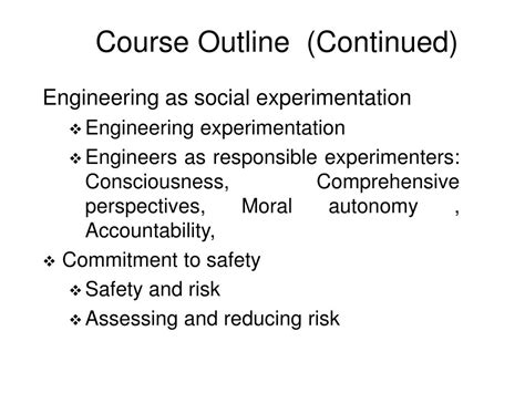 Perspectives Course Outline by Ppt Professional Engineering Ethics Lecture Notes Powerpoint Presentation Id 315860