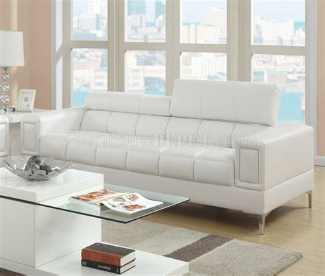 poundex white leather modern sectional sofa f7240 sofa loveseat set in off white bonded leather by