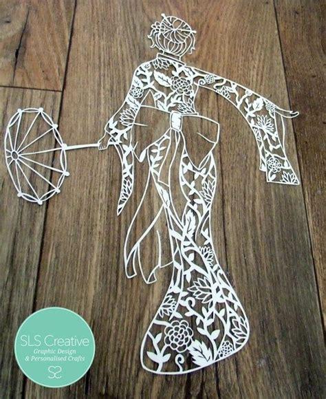 Japanese Paper Cutting Templates geisha japanese style paper cut papercut template