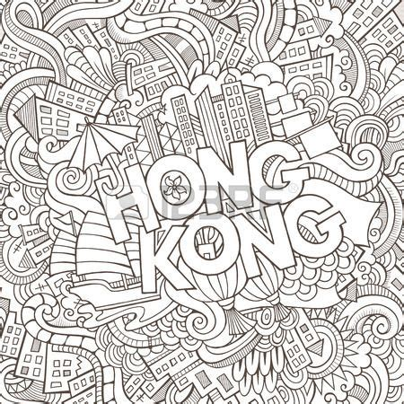 hong kong hand lettering  doodles elements background