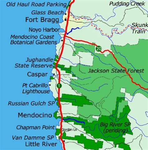 california map mendocino hiking in mendocino california
