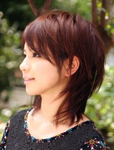 asian medium layered hair  long side bangs