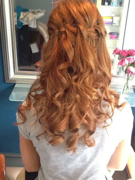 curls hairstyles with braids for prom prom hair waterfall braid curls prom hair pinterest