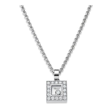 chopard happy diamonds white gold square necklace king