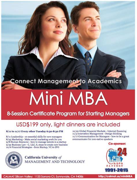 Mba Programs In California Tat Waive Te Mat by Calmat Mini Mba Connecting Management To Academics