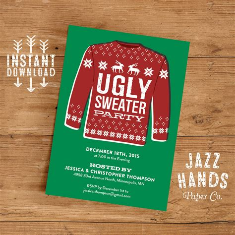 sweater invitation template sweater invitation template diy printable