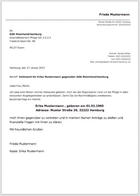 Vollmacht Schreiben Muster Bank Vollmacht F 252 R Versicherung Mein Pflegebudget