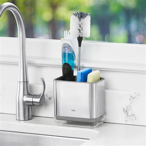Kitchen Sink Caddy Oxo Stainless Steel Sink Caddy The Container Store