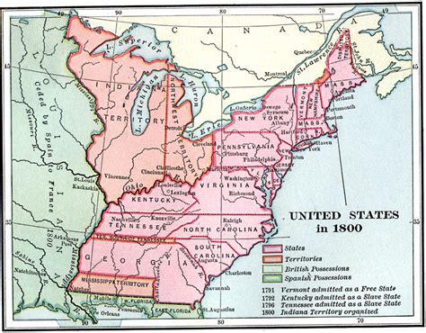 america map in 1800 united states