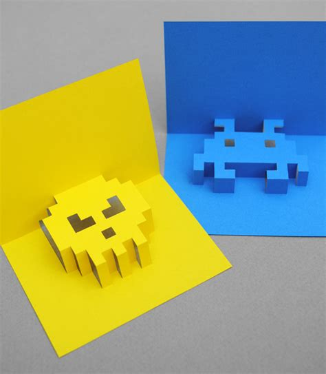 3d Pixel Card Template how to make 3d pixel pop up cards made