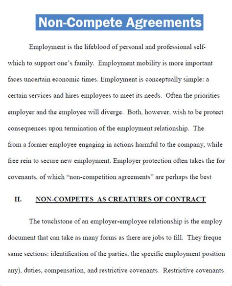 non compete agreement template word non compete agreement template word non compete agreement