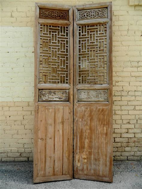 19th century large four panel wooden lattice door