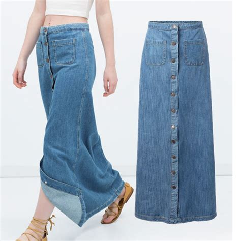aliexpress buy maxi denim skirt single breasted