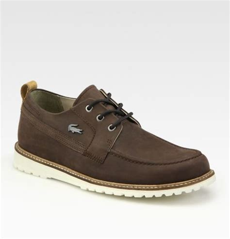 lacoste leather dress shoe in brown for lyst