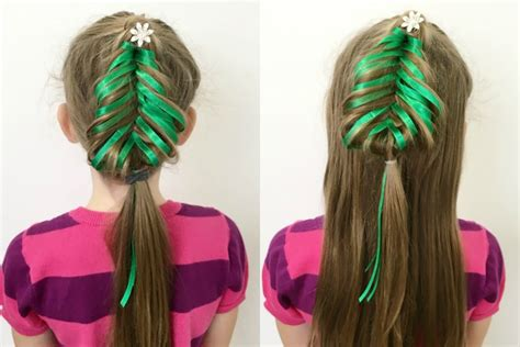 christmas tree girls hair do fishtail tree braid 12 braids of