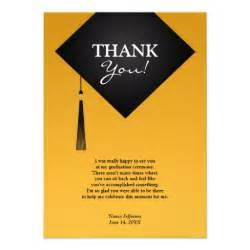 thank you graduation black hat flat card 4 5 quot x 6 25 quot invitation card zazzle