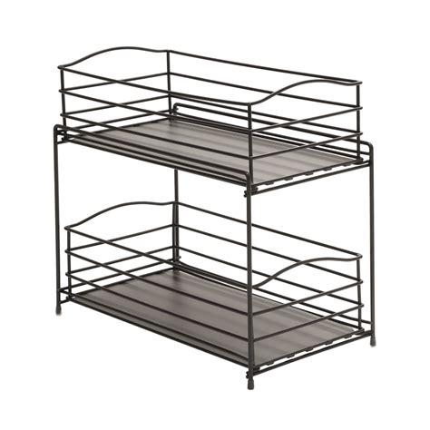 sliding cabinet organizers kitchen amazon com seville classics 2 tier sliding basket kitchen cabinet organizer gun metal