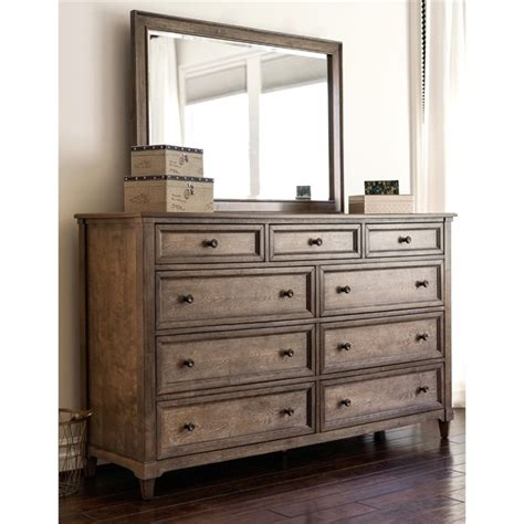Weathered Oak Dresser by Abbyson Living Westley 9 Drawer Dresser With Mirror In