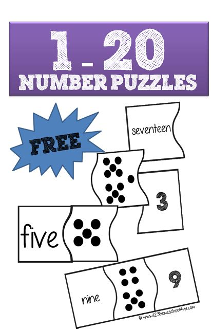 printable numbers 1 20 with words free 1 20 number puzzles free homeschool deals