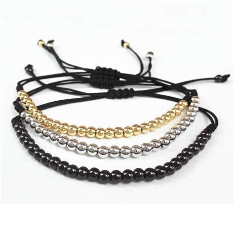 Handmade Macrame Bracelets - 100 brand bracelets gold color 4mm